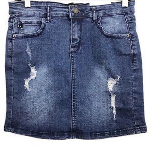 Bocca Denim Destroyed Mini Straight Jean Skirt